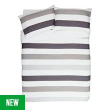Argos Home Grey Waffle Stripe Bedding Set - Double Best Price, Cheapest Prices