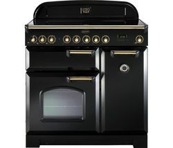RANGEMASTER Classic Deluxe 90 Electric Range Cooker - Black & Brass Best Price, Cheapest Prices