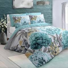 Argos Home Duck Egg Floral Bloom Bedding Set - Double Best Price, Cheapest Prices