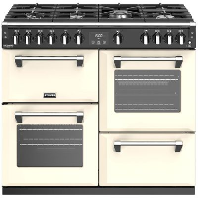 Stoves Richmond Deluxe S1000G 100cm Gas Range Cooker with Electric Grill - Cream - A/A/A Rated Best Price, Cheapest Prices