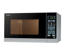 SHARP R372SLM Compact Solo Microwave - Silver Best Price, Cheapest Prices