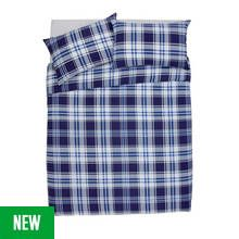 Argos Home Blue Check Bedding Set - Double Best Price, Cheapest Prices