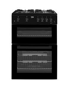 Beko KDG611K 60cm Gas Cooker with Full Width Gas Grill - Black Best Price, Cheapest Prices