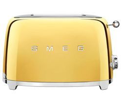 SMEG 50's Retro Style TSF01GOUK 2-Slice Toaster - Gold Best Price, Cheapest Prices