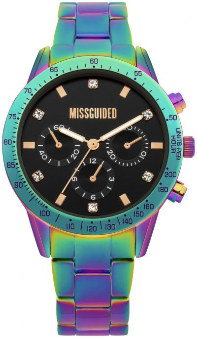 Missguided Iridescent Multicoloured Bracelet Watch Best Price, Cheapest Prices