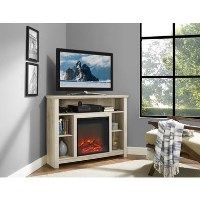 White Oak Effect Corner TV Unit with Electric Fire & Shelves - TV's up to 45