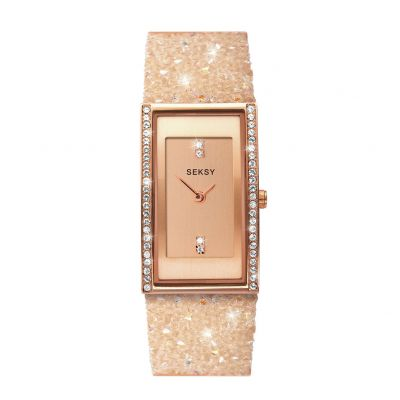 Seksy By Sekonda Ladies Cream Stone Set Strap Watch Best Price, Cheapest Prices