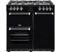 BELLING Kensington 90G Gas Range Cooker - Black & Chrome Best Price, Cheapest Prices