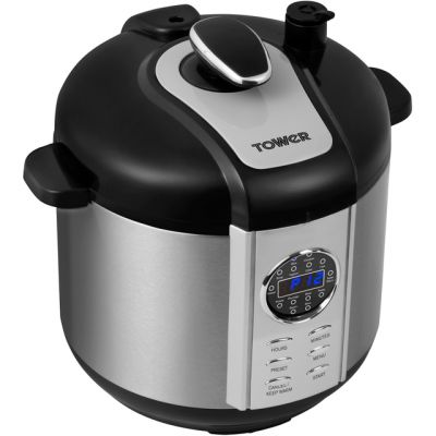 Tower T16005 6 Litre Pressure Cooker - Stainless Steel Best Price, Cheapest Prices