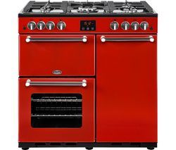 BELLING Kensington 90G Gas Range Cooker - Red & Chrome Best Price, Cheapest Prices