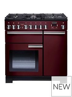 Rangemaster  PDL90DFFCY Professional Deluxe 90cm Wide Dual Fuel Range Cooker - Cranberry Best Price, Cheapest Prices
