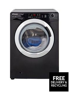 Candy GVS149DC3B Grand'O Vita 9kg Load, 1400 Spin Washing Machine with Smart Touch - Black/Chrome Best Price, Cheapest Prices