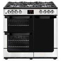 New World Vision 90DFT 90cm Dual Fuel Range Cooker in Stainless Steel 444444204 Best Price, Cheapest Prices