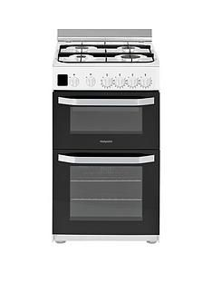 Hotpoint HD5G00CCW 50cm Wide Gas Double Oven Cooker - White Best Price, Cheapest Prices