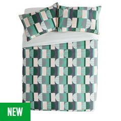Argos Home Geo Squares Printed Bedding Set - Kingsize Best Price, Cheapest Prices