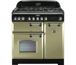 RANGEMASTER Classic Deluxe 90 Dual Fuel Range Cooker - Olive Green & Chrome Best Price, Cheapest Prices