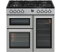 FLAVEL MLN9FRS 90 cm Dual Fuel Range Cooker - Silver & Black Best Price, Cheapest Prices