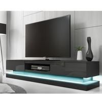 Evoque Large Grey High Gloss TV Unit with Lower LED Lighting Best Price, Cheapest Prices