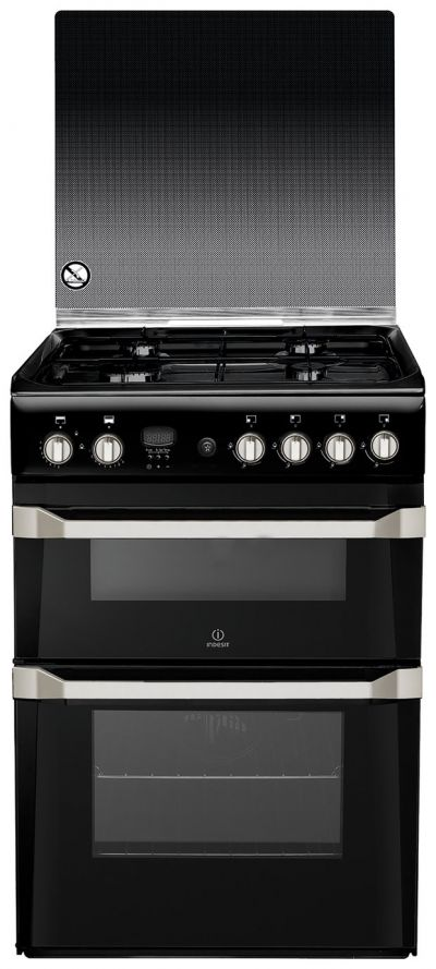 Indesit ID60G2K 60cm Double Oven Gas Cooker - Black Best Price, Cheapest Prices