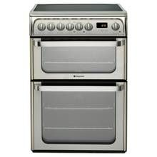 Hotpoint HUE61XS 60cm Double Oven Electric Cooker - Silver Best Price, Cheapest Prices