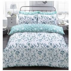 Argos Home Teal Painted Damask Bedding Set - Double Best Price, Cheapest Prices