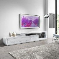 Evoque XL White High Gloss TV Unit with 2 Touch Open Drawers Best Price, Cheapest Prices