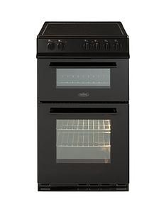 Belling FS50EDOFC 50cm Double Oven Electric Ceramic Cooker with OptionalConnection - Black Best Price, Cheapest Prices