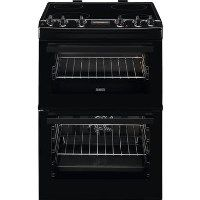 Zanussi ZCV66250BA 60cm Double Oven Electric Cooker With Ceramic Hob - Black Best Price, Cheapest Prices