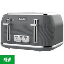 Breville VTT892 Flow 4 Slice Toaster - Grey Best Price, Cheapest Prices