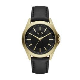 Armani Exchange Men's Black Leather Strap Watch Best Price, Cheapest Prices