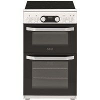 Hotpoint HD5V93CCW 50cm Double Oven Electric Cooker With Ceramic Hob - White Best Price, Cheapest Prices