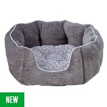 Grey Cord Oval Pet Bed - Medium Best Price, Cheapest Prices