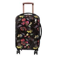 IT Luggage 8 Wheel Black Floral Print Suitcase