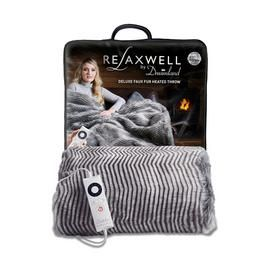 Relaxwell by Dreamland Zebra Print Faux Fur Heated Throw Best Price, Cheapest Prices