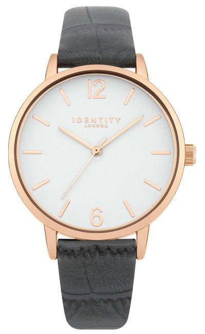Identity London Ladies Grey Croc Faux Leather Strap Watch Best Price, Cheapest Prices