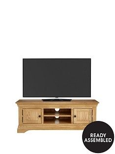 Luxe Collection Constance Oak Ready Assembled Large TV Unit - fits up to 60 inch TV Best Price, Cheapest Prices