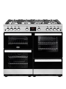 Belling 100G Belling Cookcentre 100Cm Gas Range Cooker - Stainless Steel - Rangecooker With Connection Best Price, Cheapest Prices