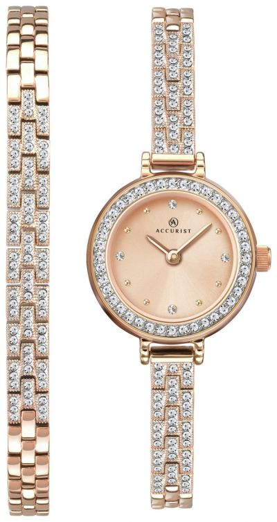 Accurist Ladies Rose Gold Plated Watch and Bracelet Gift Set Best Price, Cheapest Prices