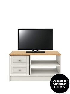 Alderley Ready Assembled Tv Unit - Grey/Oak Effect - Fits Up To 50 Inch Tv Best Price, Cheapest Prices
