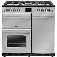 Belling Farmhouse 90GT 90cm Gas Range Cooker with Tall Electric Fan Oven Silver Best Price, Cheapest Prices