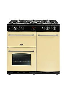 Belling Farmhouse 90DFT 90cm Dual Fuel Range Cooker - Cream Best Price, Cheapest Prices