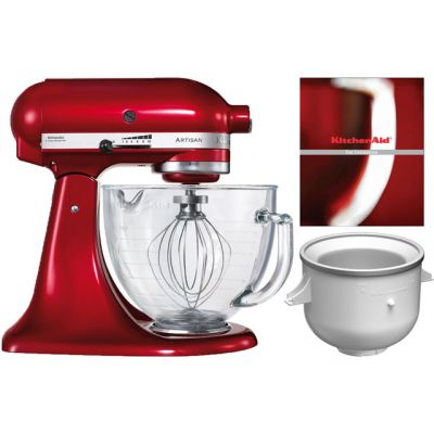KitchenAid Artisan 5KICA-5KSM156BCA Stand Mixer with 4.8 Litre Bowl and Free Ice Cream Maker - Candy Apple Red Best Price, Cheapest Prices