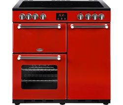 BELLING Kensington 90 cm Electric Ceramic Range Cooker - Red & Chrome Best Price, Cheapest Prices