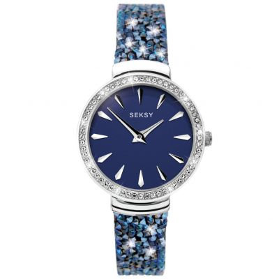 Seksy Ladies Black Leather Strap Watch with Blue Crystals Best Price, Cheapest Prices