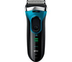 BRAUN 3 Series 3080S Wet & Dry Shaver - Black & Blue Best Price, Cheapest Prices