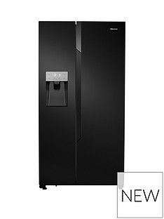 Hisense Non Plumbed. Total No Frost American Fridge Freezer Black with Water & Ice Dispenser Best Price, Cheapest Prices