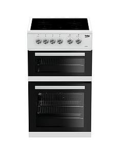 Beko KDVC563AW 50cm Double Oven Electric Cooker - White with Connection Best Price, Cheapest Prices
