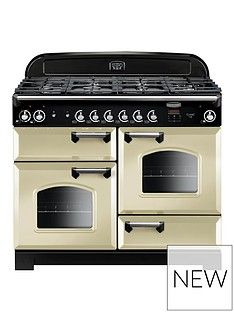 Rangemaster  CLA110DFFCR Classic Deluxe 110cm Wide Dual Fuel Range Cooker - Cream Best Price, Cheapest Prices