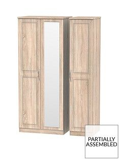 Winchester Part Assembled 3 Door Mirrored Wardrobe Best Price, Cheapest Prices