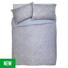 Argos Home Grey Damask Jacquard Bedding Set - Double Best Price, Cheapest Prices
